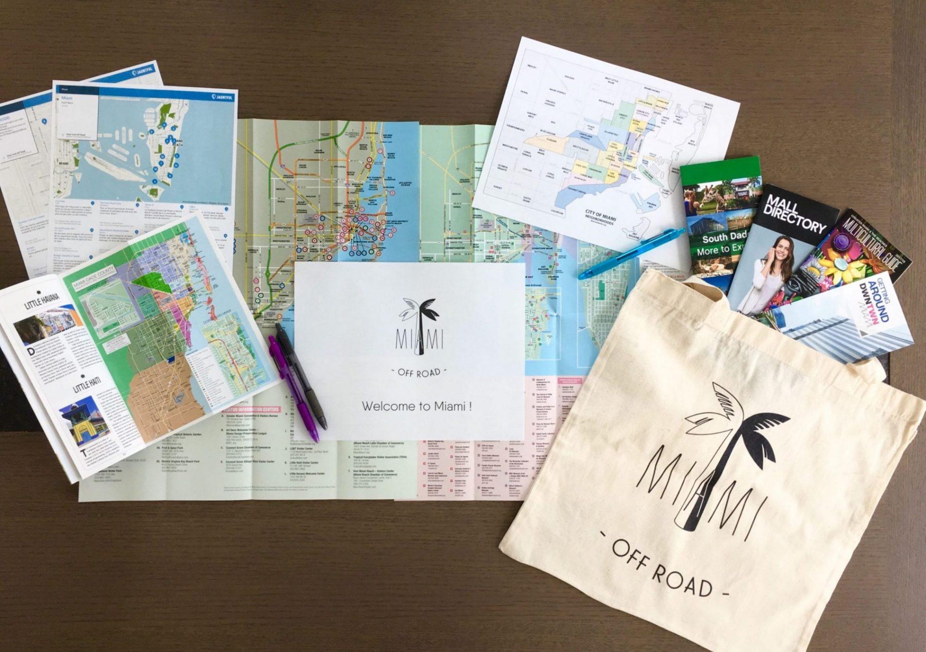 préparation de votre séjour cartes plans tote bag welcome to Miami bienvenue à Miami accompagnement à l'arrivée à miami démarrer du bon pied à miami accueil personnalisé à miami miami off road