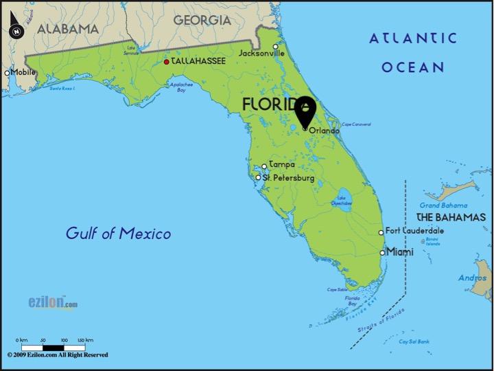 orlando carte de floride situation d'Orlando aller à Orlando depuis Miami parcs d'attractions theme parks top des meilleurs parcs d'orlando floride blog hello la floride miami off road