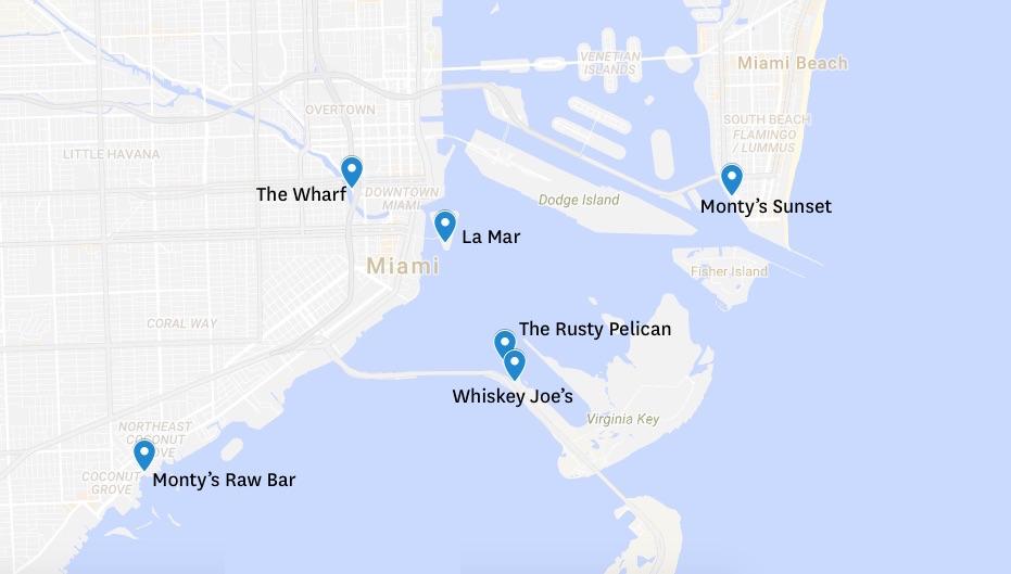 vue carte des restaurants avec vue table avec vue skyline de Miami vue mer plein les yeux blog miami off road
