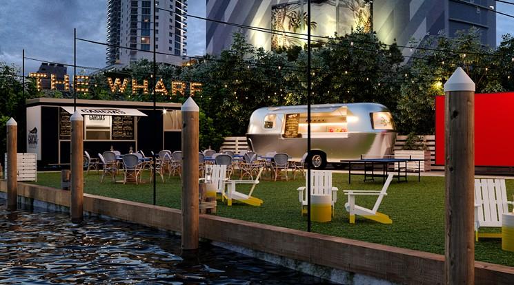 vue the wharf miami river rivière de miami restaurants avec vue table avec vue skyline de Miami vue mer plein les yeux blog miami off road